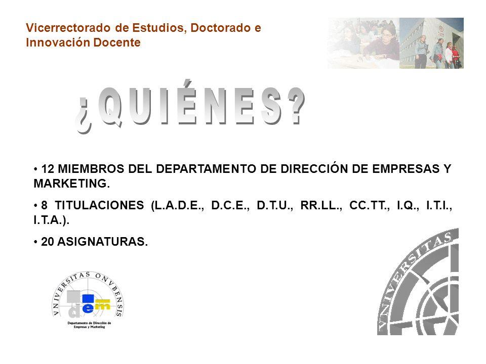 Vicerrectorado de Estudios, Doctorado e Innovación Docente 12 MIEMBROS DEL DEPARTAMENTO DE DIRECCIÓN DE EMPRESAS Y MARKETING.