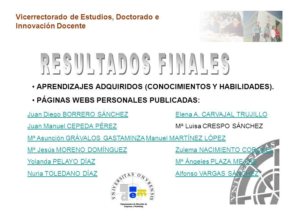 Vicerrectorado de Estudios, Doctorado e Innovación Docente TÉCNICAS.