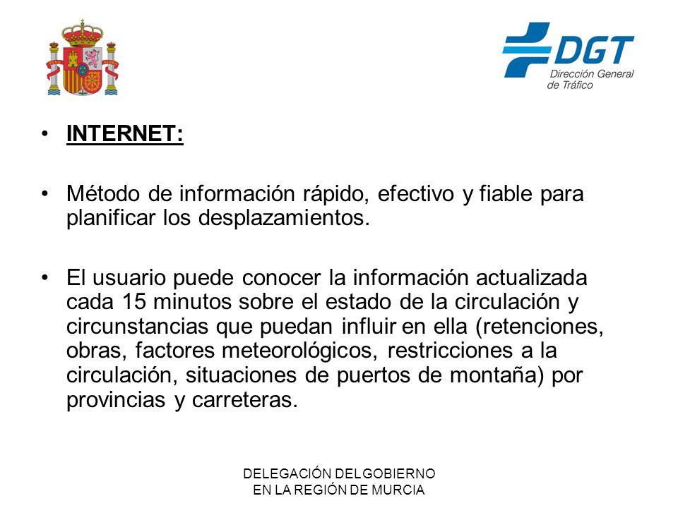 DELEGACIÓN DEL GOBIERNO EN LA REGIÓN DE MURCIA INTERNET: Método de información rápido, efectivo y fiable para planificar los desplazamientos.
