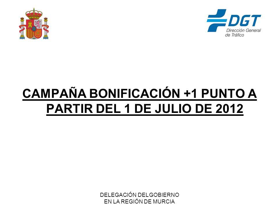 DELEGACIÓN DEL GOBIERNO EN LA REGIÓN DE MURCIA CAMPAÑA BONIFICACIÓN +1 PUNTO A PARTIR DEL 1 DE JULIO DE 2012