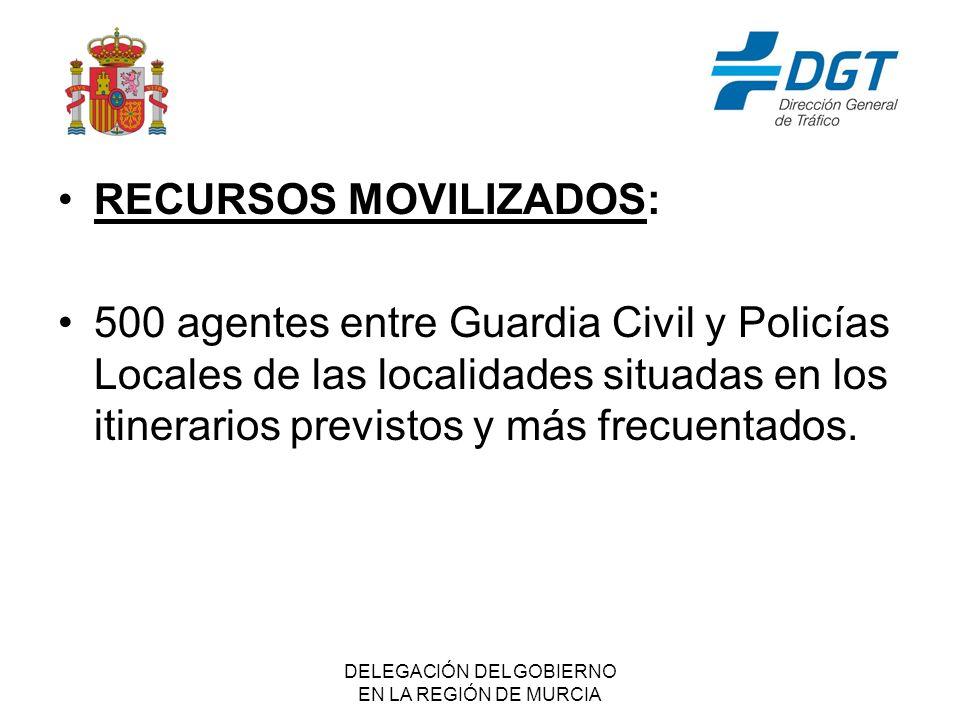 DELEGACIÓN DEL GOBIERNO EN LA REGIÓN DE MURCIA RECURSOS MOVILIZADOS: 500 agentes entre Guardia Civil y Policías Locales de las localidades situadas en los itinerarios previstos y más frecuentados.