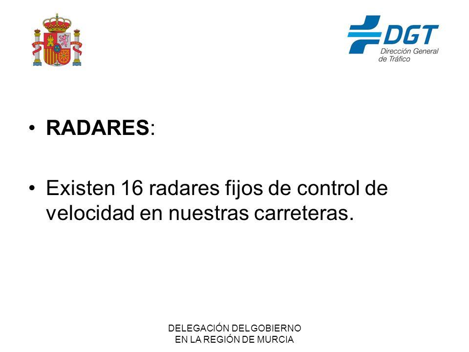 DELEGACIÓN DEL GOBIERNO EN LA REGIÓN DE MURCIA RADARES: Existen 16 radares fijos de control de velocidad en nuestras carreteras.