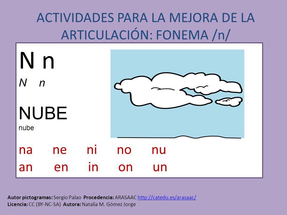 ACTIVIDADES PARA LA MEJORA DE LA ARTICULACIÓN: FONEMA /n/ Autor pictogramas: Sergio Palao Procedencia: ARASAAC http://catedu.es/arasaac/http://catedu.