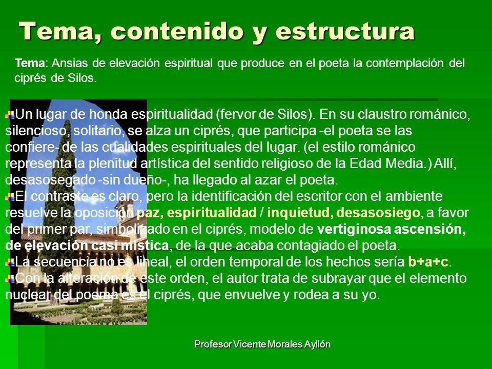 Profesor Vicente Morales Ayllón Tema, contenido y estructura Tema: Ansias de elevación espiritual que produce en el poeta la contemplación del ciprés