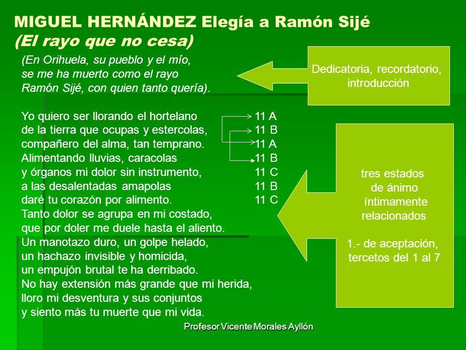 Profesor Vicente Morales Ayllón MIGUEL HERNÁNDEZ Elegía a Ramón Sijé (El rayo que no cesa) (En Orihuela, su pueblo y el mío, se me ha muerto como el r