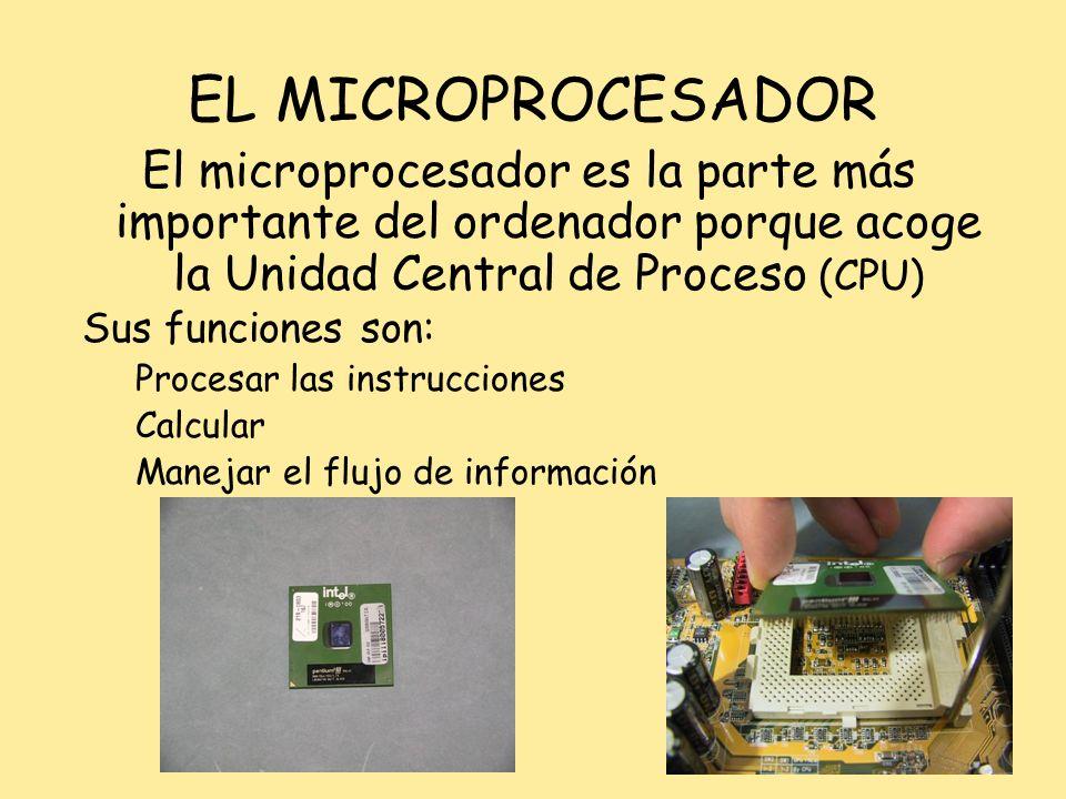 EL MICROPROCESADOR El microprocesador es la parte más importante del ordenador porque acoge la Unidad Central de Proceso (CPU) Sus funciones son: Proc