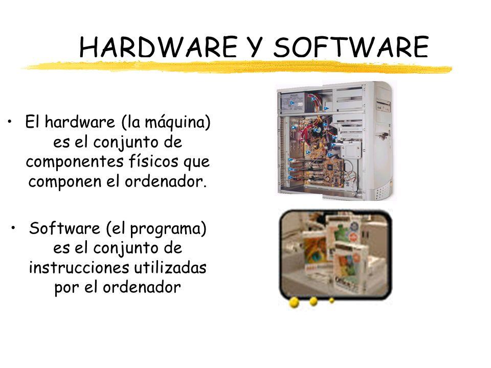HARDWARE Y SOFTWARE El hardware (la máquina) es el conjunto de componentes físicos que componen el ordenador. Software (el programa) es el conjunto de