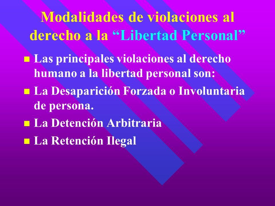Modalidades de violaciones al derecho a la Libertad Personal Las principales violaciones al derecho humano a la libertad personal son: La Desaparición