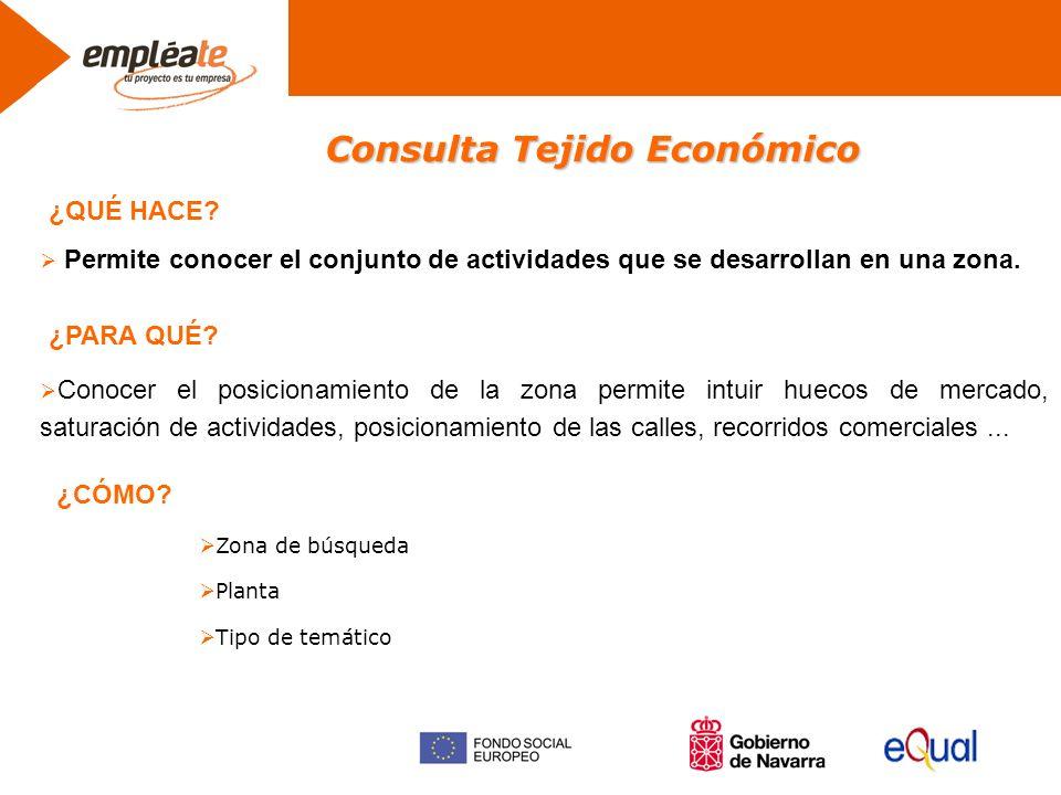 Consulta Tejido Económico Permite conocer el conjunto de actividades que se desarrollan en una zona.