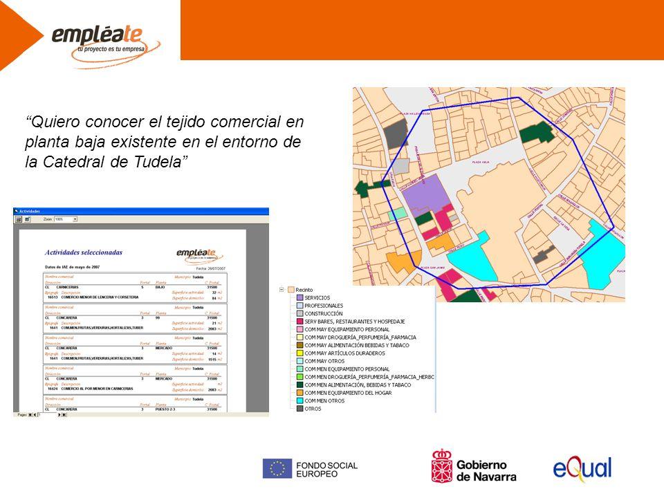 Quiero conocer el tejido comercial en planta baja existente en el entorno de la Catedral de Tudela