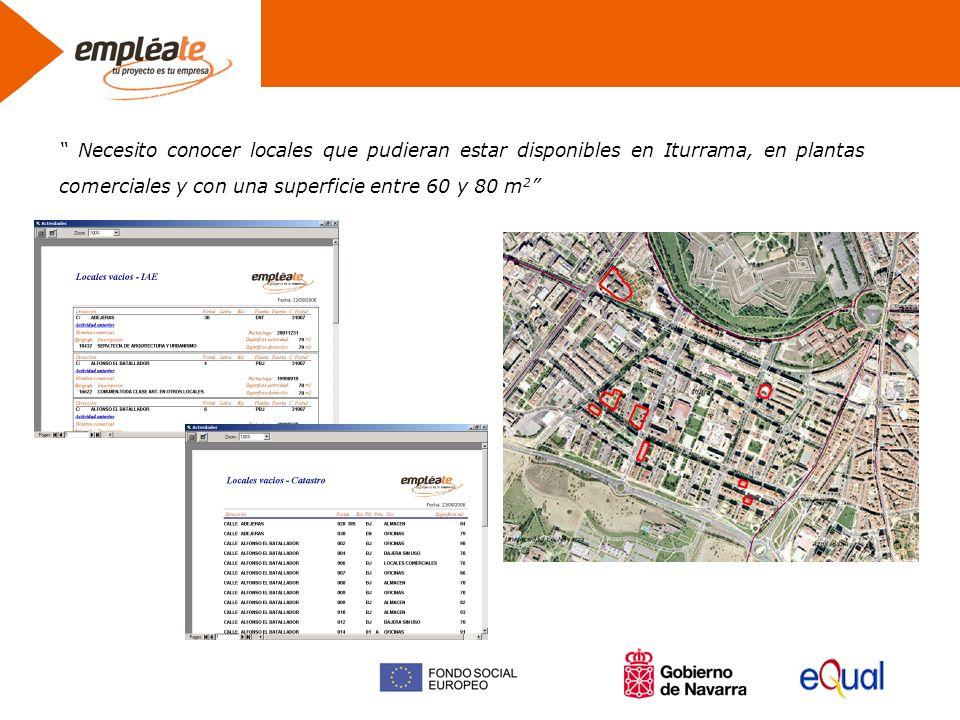 Necesito conocer locales que pudieran estar disponibles en Iturrama, en plantas comerciales y con una superficie entre 60 y 80 m 2