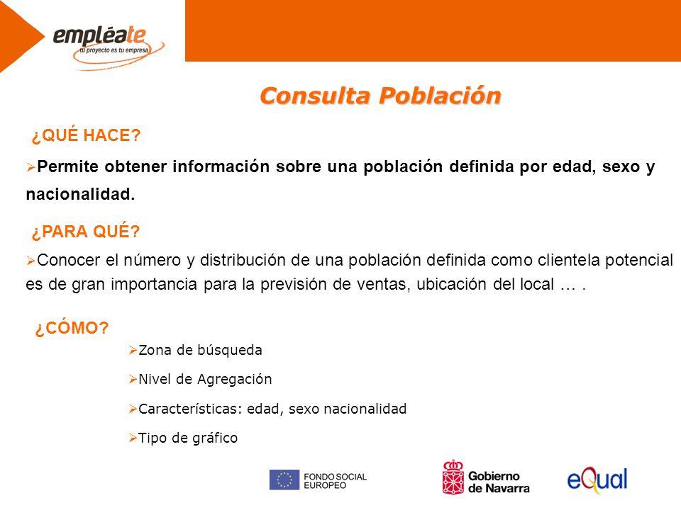 Consulta Población Permite obtener información sobre una población definida por edad, sexo y nacionalidad.