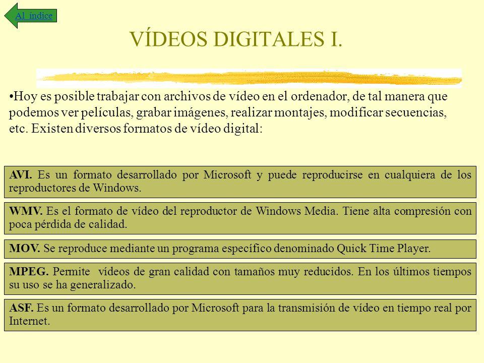 VÍDEOS DIGITALES I. Hoy es posible trabajar con archivos de vídeo en el ordenador, de tal manera que podemos ver películas, grabar imágenes, realizar