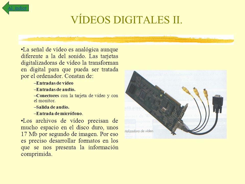 VÍDEOS DIGITALES II. La señal de vídeo es analógica aunque diferente a la del sonido. Las tarjetas digitalizadoras de vídeo la transforman en digital