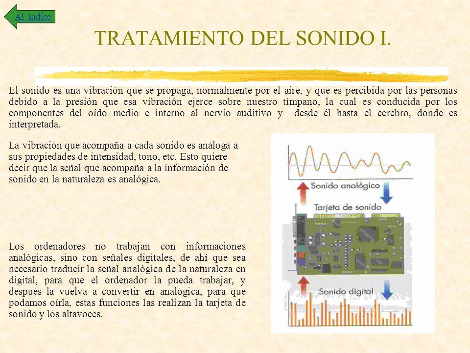 TRATAMIENTO DEL SONIDO I. El sonido es una vibración que se propaga, normalmente por el aire, y que es percibida por las personas debido a la presión