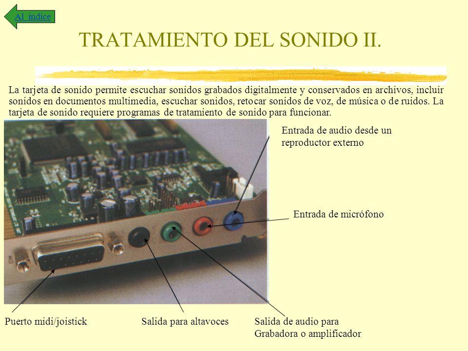 TRATAMIENTO DEL SONIDO II. Al índice La tarjeta de sonido permite escuchar sonidos grabados digitalmente y conservados en archivos, incluir sonidos en