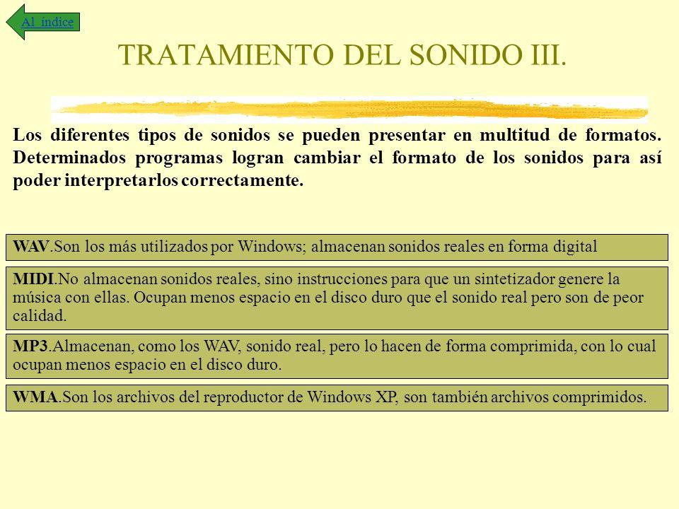 TRATAMIENTO DEL SONIDO III. Los diferentes tipos de sonidos se pueden presentar en multitud de formatos. Determinados programas logran cambiar el form