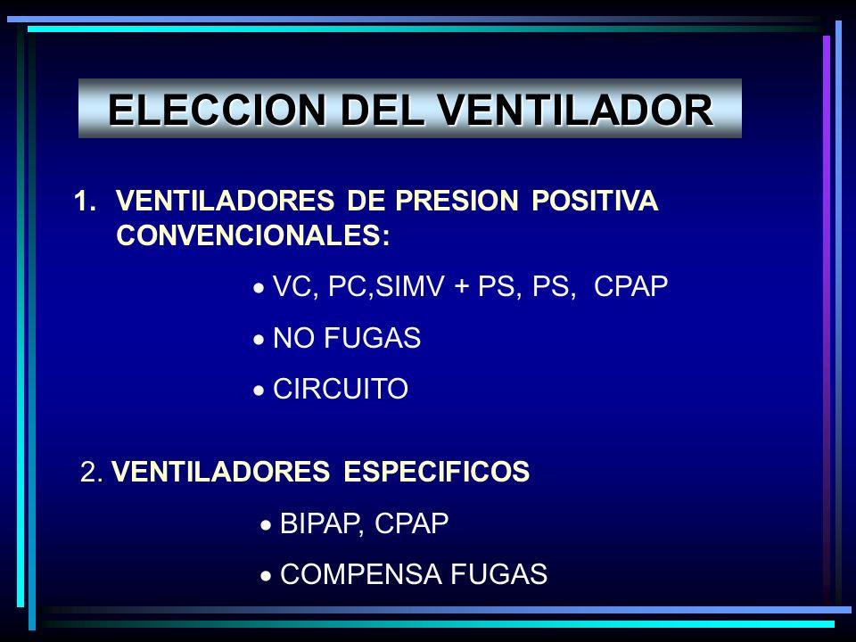 ELECCION DEL VENTILADOR 1.VENTILADORES DE PRESION POSITIVA CONVENCIONALES: VC, PC,SIMV + PS, PS, CPAP NO FUGAS CIRCUITO 2. VENTILADORES ESPECIFICOS BI