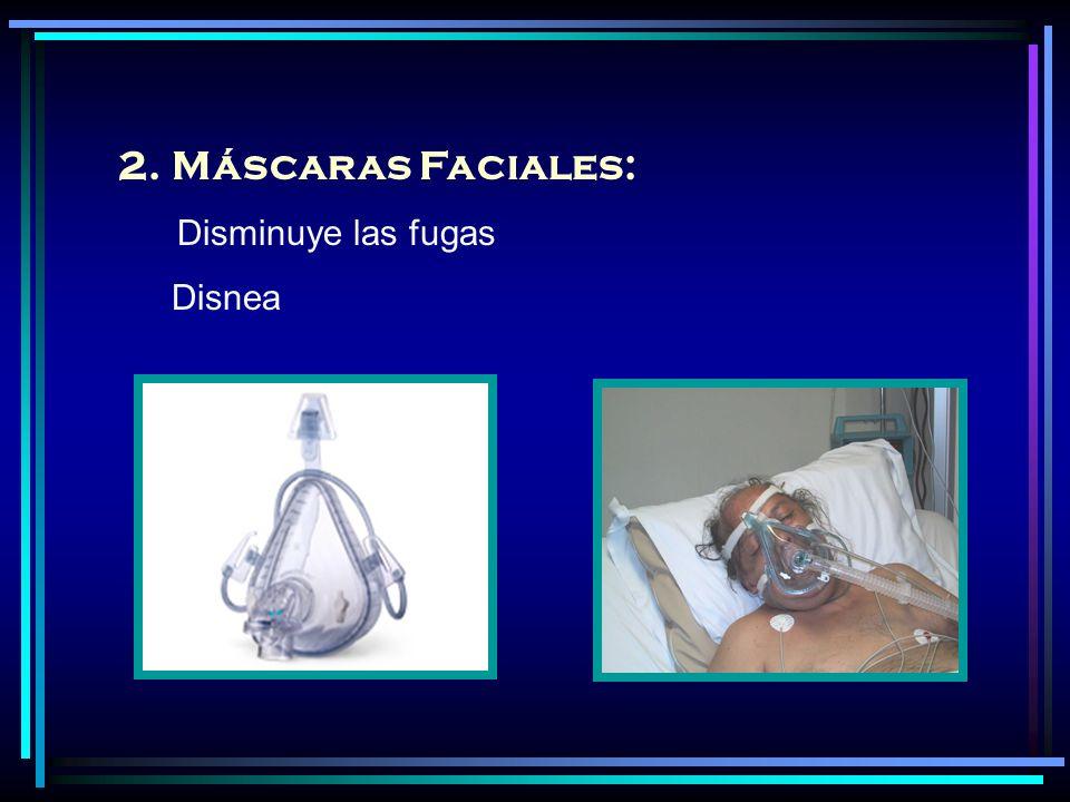 2.Máscaras Faciales: Disminuye las fugas Disnea