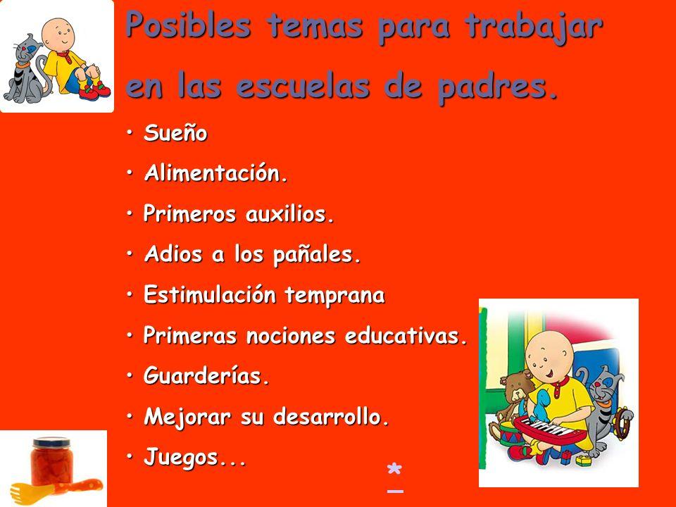 Posibles temas para trabajar en las escuelas de padres. Sueño Sueño Alimentación. Alimentación. Primeros auxilios. Primeros auxilios. Adios a los paña