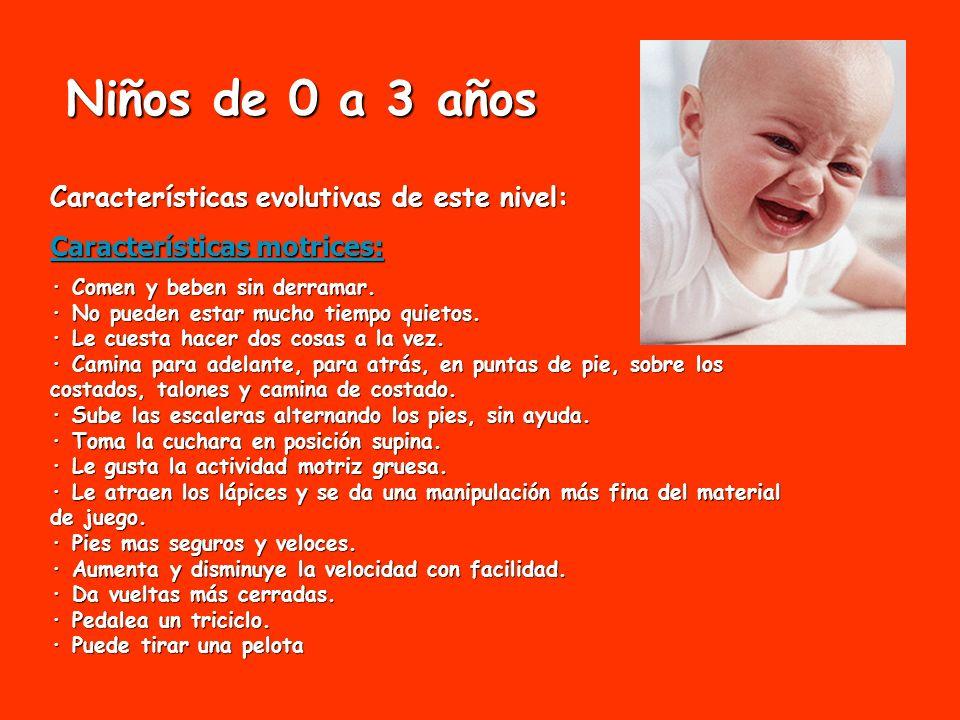 Niños de 0 a 3 años Características evolutivas de este nivel: Características motrices: · Comen y beben sin derramar. · No pueden estar mucho tiempo q