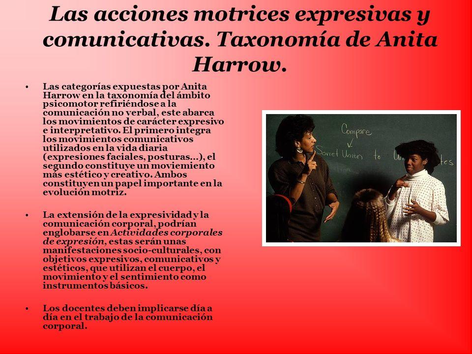 Las acciones motrices expresivas y comunicativas. Taxonomía de Anita Harrow. Las categorías expuestas por Anita Harrow en la taxonomía del ámbito psic