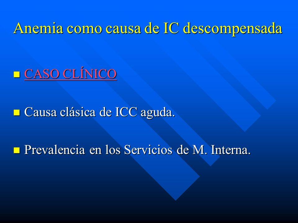 Anemia como causa de IC descompensada CASO CLÍNICO CASO CLÍNICO CASO CLÍNICO CASO CLÍNICO Causa clásica de ICC aguda. Causa clásica de ICC aguda. Prev