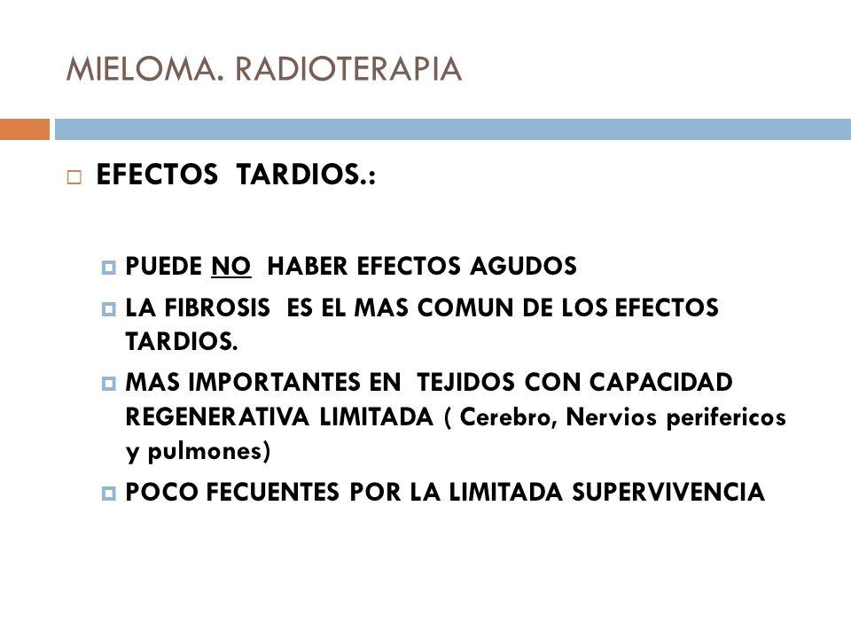 MIELOMA. RADIOTERAPIA EFECTOS TARDIOS.: PUEDE NO HABER EFECTOS AGUDOS LA FIBROSIS ES EL MAS COMUN DE LOS EFECTOS TARDIOS. MAS IMPORTANTES EN TEJIDOS C