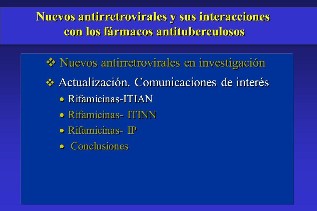 v Nuevos antirretrovirales en investigación v Actualización. Comunicaciones de interés Rifamicinas-ITIAN Rifamicinas- ITINN Rifamicinas- IP Conclusion