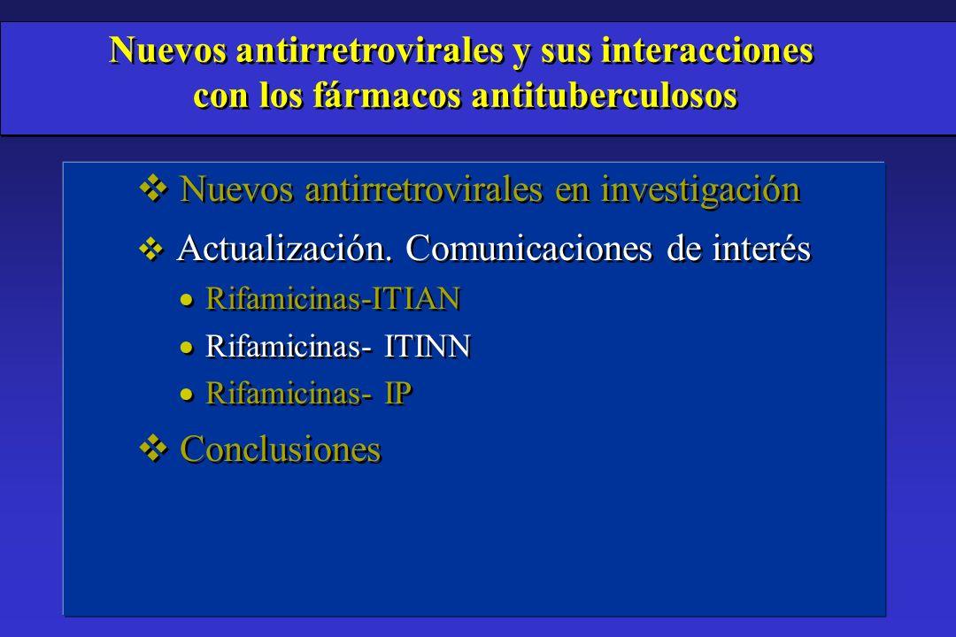 v Nuevos antirretrovirales en investigación v Actualización. Comunicaciones de interés Rifamicinas-ITIAN Rifamicinas- ITINN Rifamicinas- IP v Conclusi