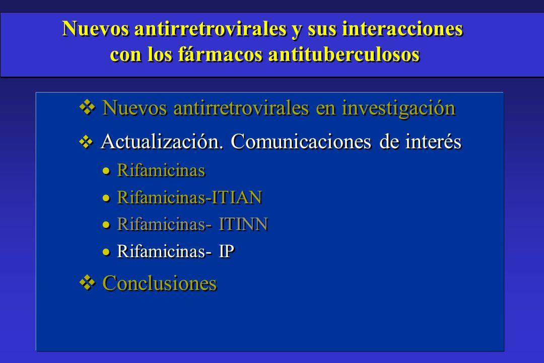 v Nuevos antirretrovirales en investigación v Actualización. Comunicaciones de interés Rifamicinas Rifamicinas-ITIAN Rifamicinas- ITINN Rifamicinas- I