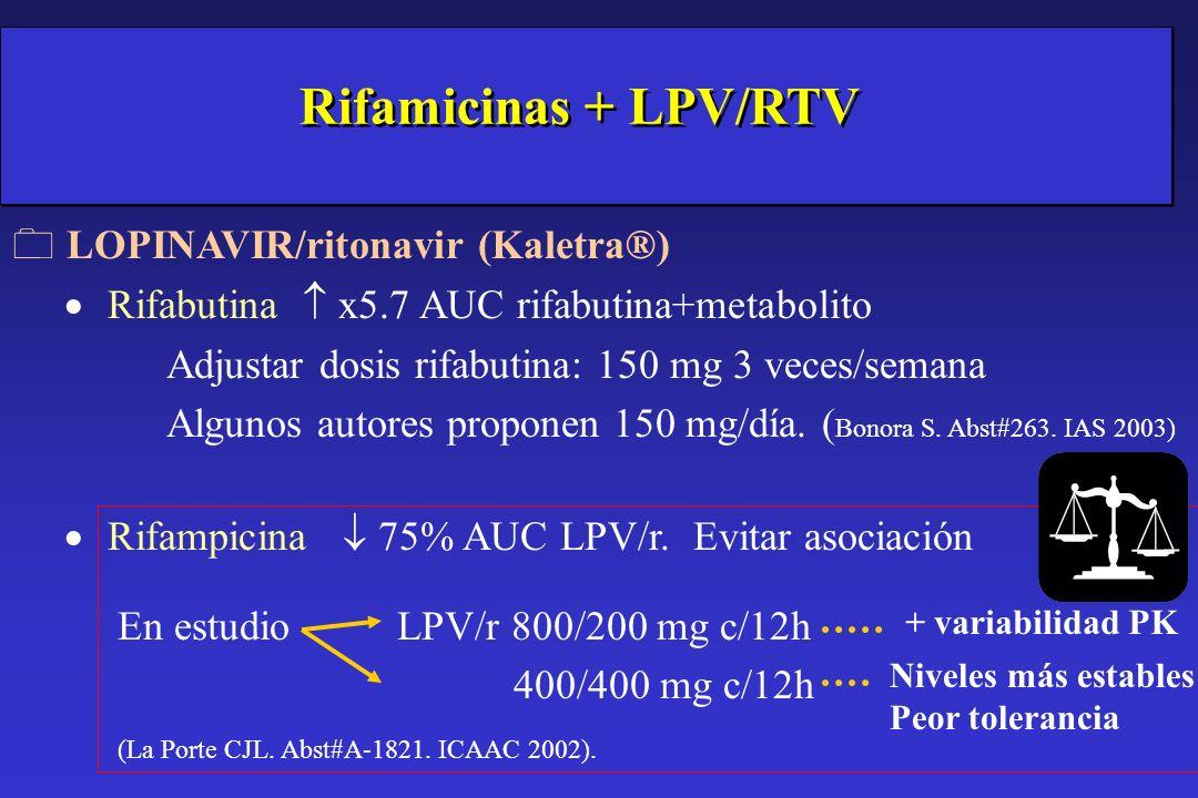 0 LOPINAVIR/ritonavir (Kaletra®) Rifabutina x5.7 AUC rifabutina+metabolito Adjustar dosis rifabutina: 150 mg 3 veces/semana Algunos autores proponen 1