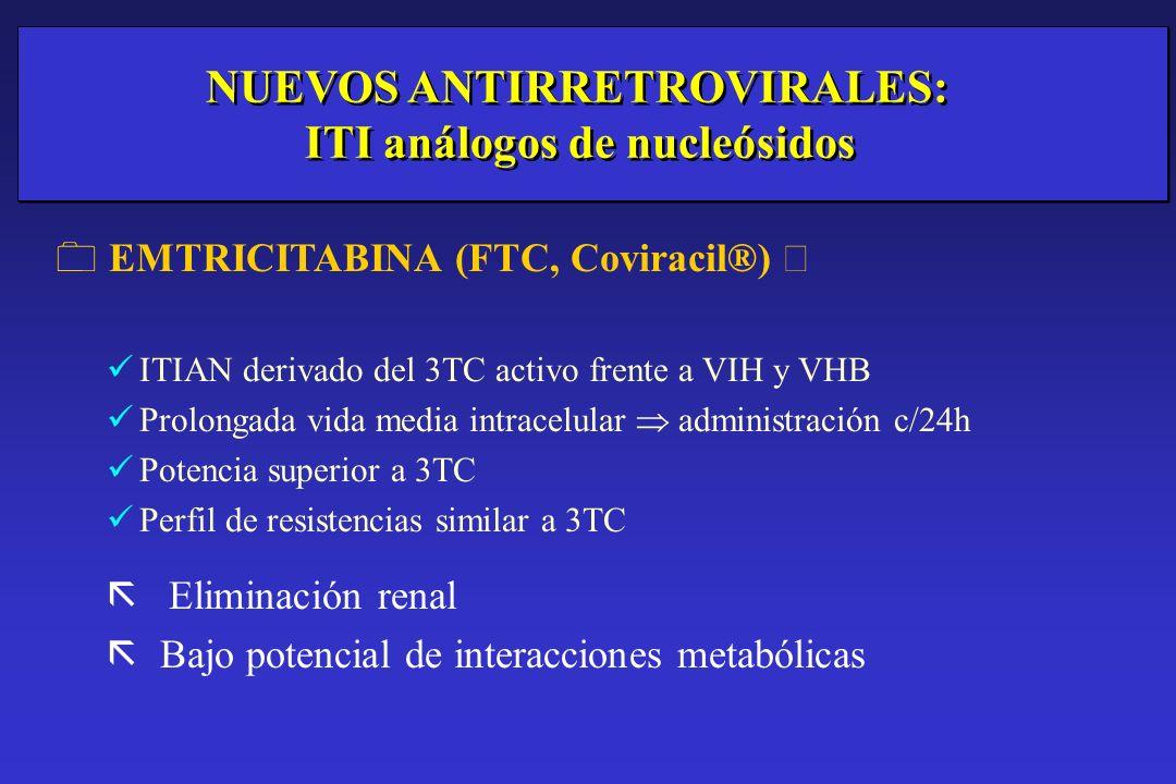 NUEVOS ANTIRRETROVIRALES: ITI análogos de nucleósidos EMTRICITABINA (FTC, Coviracil®) ITIAN derivado del 3TC activo frente a VIH y VHB Prolongada vida