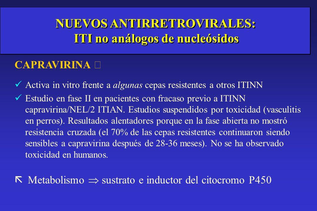 v Nuevos antirretrovirales en investigación ITIANs: emtricitabina ITINN: Capravirine IP: atazanavir, tipranavir.