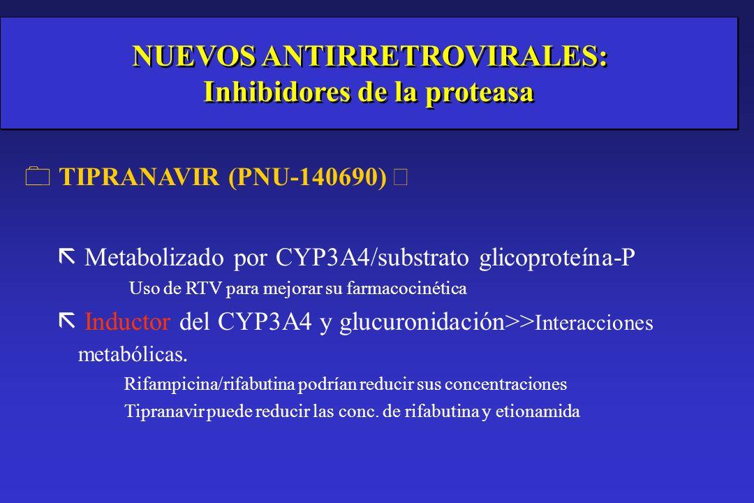 Atazanavir (BMS-232632) ãmetabolizado por CYP3A4 e inhibidor moderado CYP3A4) 3 n=30 voluntarios sanos rifabutina 150 mg c/24h ATV 600 mg c/24h o 400 mg +/- RTV 100 mg c/24h con una comida ligera ATV AUC ---------> Sin cambios ATV 400 mg c/24h x 2 ATV 600 mg c/24h x 3 ATV/RTV 400/100 c/24h rifabutina AUC ----->x2,5 (versus rifabutina 300 mg c/24h) Utilizar la misma dosis de ATV y reducir rifabutina a <150 mg c/24h (Agarwala S.