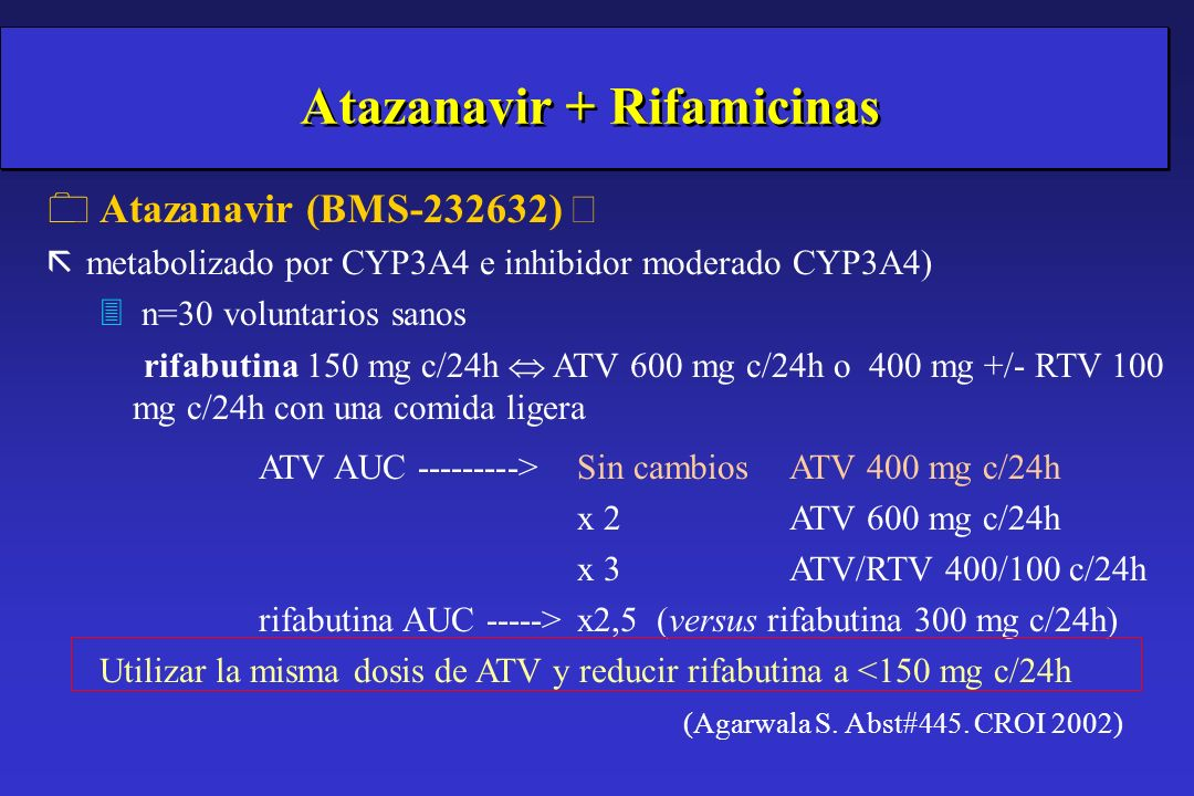 IP + rifabutina asociado a NVP/EFV IP + rifabutina asociado a NVP/EFV 0 Considerar 300 mg/día RFB o en terapia intermitente 300 mg 3 veces x semana.