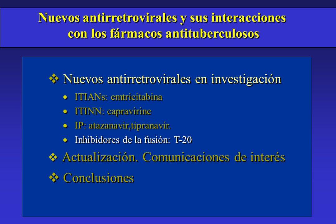 Conclusiones ã Las interacciones entre antirretrovirales y antituberculosos son complejas.