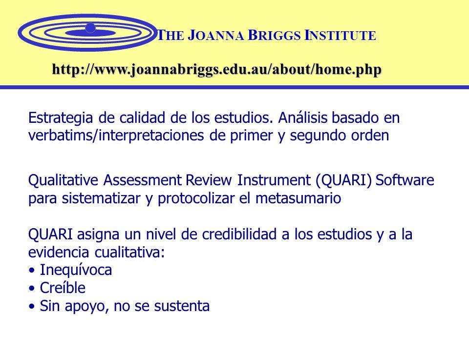 T HE J OANNA B RIGGS I NSTITUTE http://www.joannabriggs.edu.au/about/home.php Estrategia de calidad de los estudios. Análisis basado en verbatims/inte