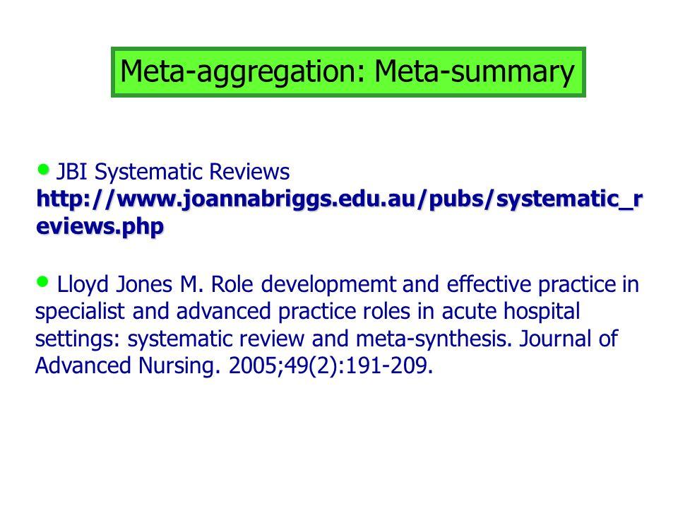 Meta-aggregation: Meta-summary JBI Systematic Reviews http://www.joannabriggs.edu.au/pubs/systematic_r eviews.php Lloyd Jones M. Role developmemt and
