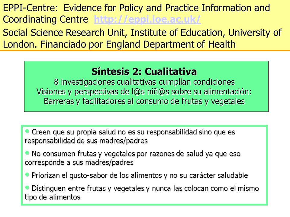 Síntesis 2: Cualitativa 8 investigaciones cualitativas cumplían condiciones Visiones y perspectivas de l@s niñ@s sobre su alimentación: Barreras y fac