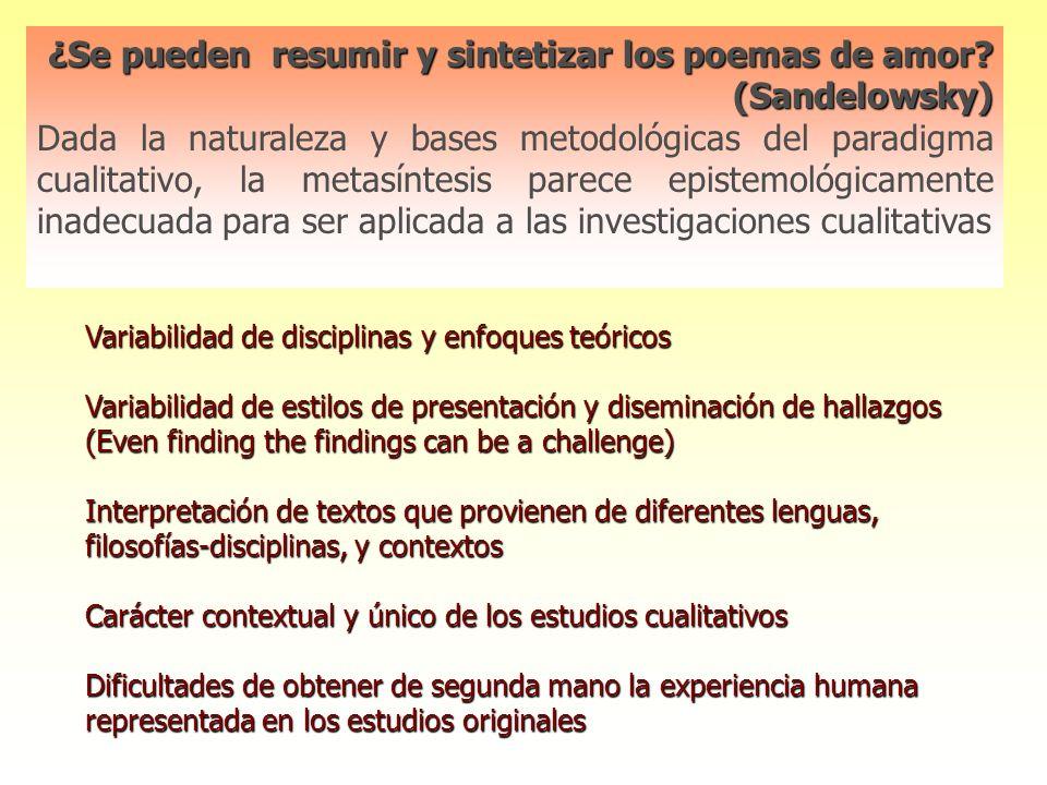 Meta-ethnografy Descrita por Noblit and Hare en 1988 Desarrollada y aplicada al campo de la salud por Rona Campbell y cols.