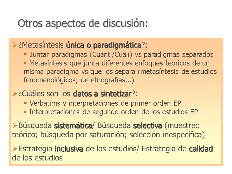 Interpretación Estudios cualis Meta-ethnografy (UK:Rona Campbell) Meta-synthesis (EEUU:Sandelowsky/Barroso) Agregación Estudios cualis y cuantis Meta-aggregation Meta-summary (Australia:JBI-QUARI) Narrative Synthesis (UK:J Popay y cols)