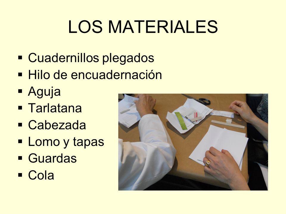 LOS MATERIALES Cuadernillos plegados Hilo de encuadernación Aguja Tarlatana Cabezada Lomo y tapas Guardas Cola