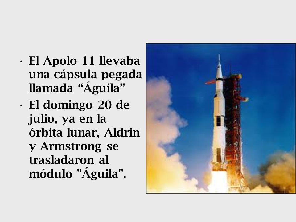 El Apolo 11 llevaba una cápsula pegada llamada Águila El domingo 20 de julio, ya en la órbita lunar, Aldrin y Armstrong se trasladaron al módulo