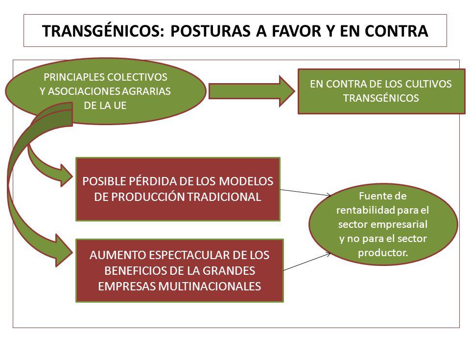 TRANSGÉNICOS: POSTURAS A FAVOR Y EN CONTRA PRINCIAPLES COLECTIVOS Y ASOCIACIONES AGRARIAS DE LA UE EN CONTRA DE LOS CULTIVOS TRANSGÉNICOS POSIBLE PÉRD