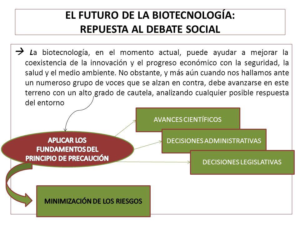 EL FUTURO DE LA BIOTECNOLOGÍA: REPUESTA AL DEBATE SOCIAL La biotecnología, en el momento actual, puede ayudar a mejorar la coexistencia de la innovaci