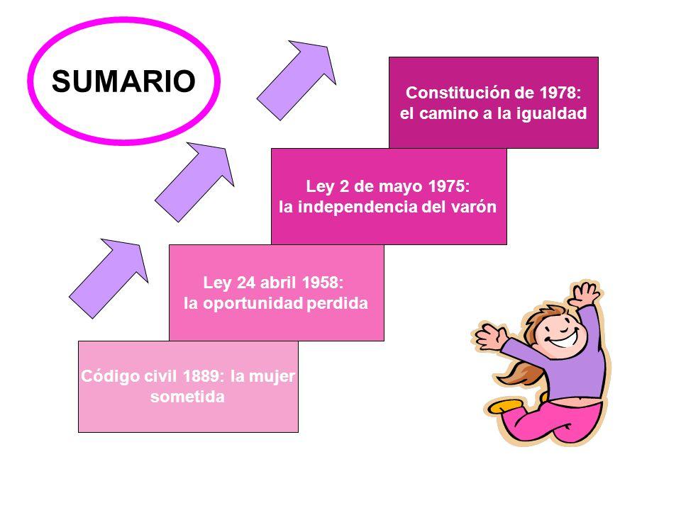 Código civil 1889: la mujer sometida Ley 24 abril 1958: la oportunidad perdida Ley 2 de mayo 1975: la independencia del varón Constitución de 1978: el