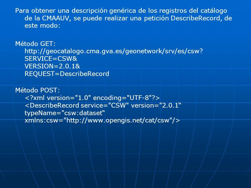 Para obtener una descripción genérica de los registros del catálogo de la CMAAUV, se puede realizar una petición DescribeRecord, de este modo: Método