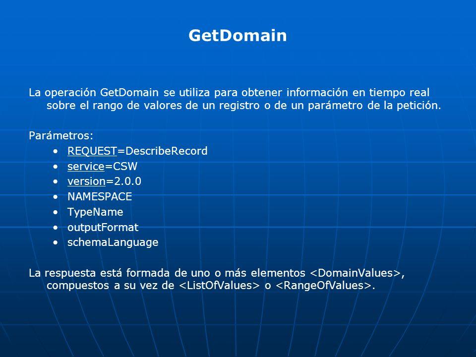 GetDomain La operación GetDomain se utiliza para obtener información en tiempo real sobre el rango de valores de un registro o de un parámetro de la p