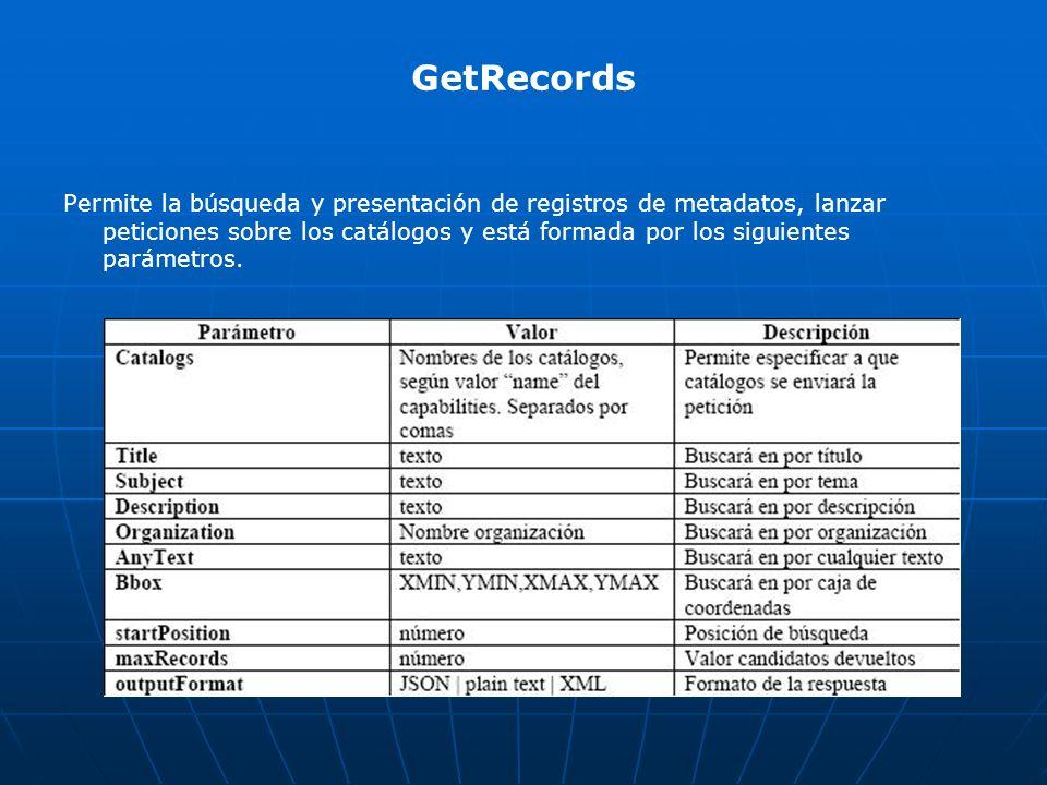 GetRecords Permite la búsqueda y presentación de registros de metadatos, lanzar peticiones sobre los catálogos y está formada por los siguientes parám